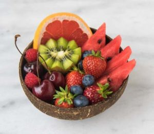 fruit salad containing watermelon kiwi grapefruit grapes and blueberries
