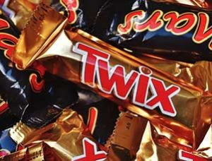 mixed assortment of candy bars