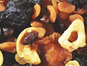 selection of dried fruits including raisins and apples