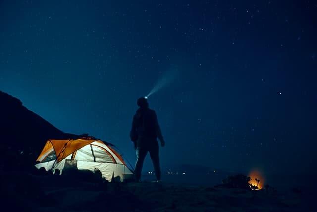 setting up camp at night