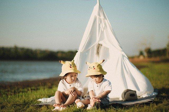 two girls camping